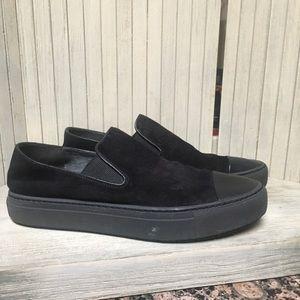 VINCE Black Suede Slip-on Sneakers
